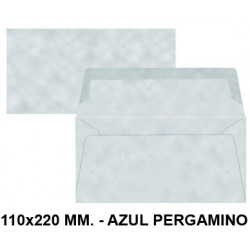 Sobre de color liderpapel en formato 110x220 mm. offset, 80 grs/m². color azul pergamino, pack de 9 uds.