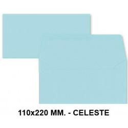 Sobre de color liderpapel en formato 110x220 mm. offset, 80 grs/m². color celeste, pack de 9 uds.