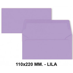 Sobre de color liderpapel en formato 110x220 mm. offset, 80 grs/m². color lila, pack de 9 uds.