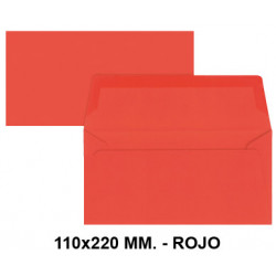 Sobre de color liderpapel en formato 110x220 mm. offset, 80 grs/m². color rojo, pack de 9 uds.