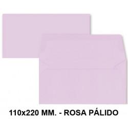 Sobre de color liderpapel en formato 110x220 mm. offset, 80 grs/m². color rosa pálido, pack de 9 uds.