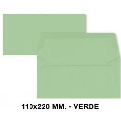 Sobre de color liderpapel en formato 110x220 mm. offset, 80 grs/m². color verde, pack de 9 uds.
