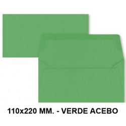 Sobre de color liderpapel en formato 110x220 mm. offset, 80 grs/m². color verde acebo, pack de 9 uds.