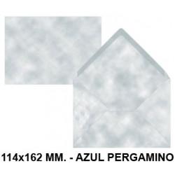 Sobre de color liderpapel en formato 114x162 mm. offset, 80 grs/m². color azul pergamino, pack de 15 uds.