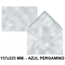 Sobre de color liderpapel en formato 157x225 mm. offset, 80 grs/m². color azul pergamino, pack de 9 uds.