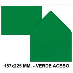 Sobre de color liderpapel en formato 157x225 mm. offset, 80 grs/m². color verde acebo, pack de 9 uds.