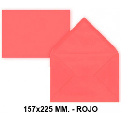 Sobre de color liderpapel en formato 157x225 mm. offset, 80 grs/m². color rojo, pack de 9 uds.
