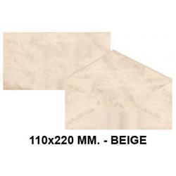 Sobre de color michel en formato 110x220 mm. marmoleado, 90 grs/m². color beige, paquete de 25 uds.