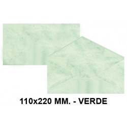 Sobre de color michel en formato 110x220 mm. marmoleado, 90 grs/m². color verde, paquete de 25 uds.