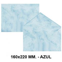 Sobre de color michel en formato 160x220 mm. marmoleado, 90 grs/m². color azul, paquete de 25 uds.