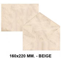 Sobre de color michel en formato 160x220 mm. marmoleado, 90 grs/m². color beige, paquete de 25 uds.