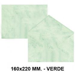 Sobre de color michel en formato 160x220 mm. marmoleado, 90 grs/m². color verde, paquete de 25 uds.