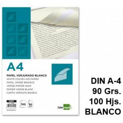 Papel verjurado liderpapel en formato din a-4 de 90 grs/m². color blanco, paquete de 100 hojas.