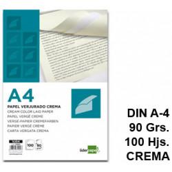 Papel verjurado liderpapel en formato din a-4 de 90 grs/m². color crema, paquete de 100 hojas.