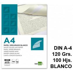 Papel verjurado liderpapel en formato din a-4 de 120 grs/m². color blanco, paquete de 100 hojas.