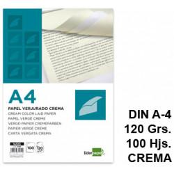Papel verjurado liderpapel en formato din a-4 de 120 grs/m². color crema, paquete de 100 hojas.