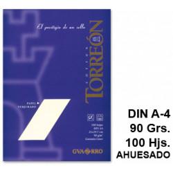 Papel verjurado canson guarro torreon en formato din a-4 de 90 grs/m². color ahuesado, paquete de 100 hojas.