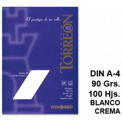 Papel verjurado canson guarro torreon en formato din a-4 de 90 grs/m². color blanco crema, paquete de 100 hojas.