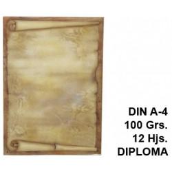 Papel pergamino liderpapel en formato din a-4 de 100 grs/m². diploma, paquete de 12 hojas.