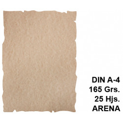 Papel pergamino con bordes troquelados liderpapel en formato din a-4 de 165 grs/m². color arena, paquete de 25 hojas.