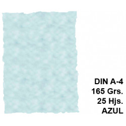 Papel pergamino con bordes troquelados liderpapel en formato din a-4 de 165 grs/m². color azul, paquete de 25 hojas.