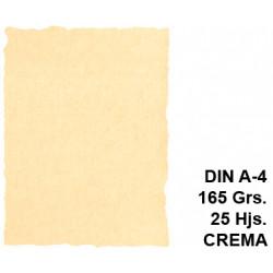 Papel pergamino con bordes troquelados liderpapel en formato din a-4 de 165 grs/m². color crema, paquete de 25 hojas.