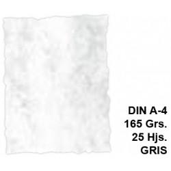 Papel pergamino con bordes troquelados liderpapel en formato din a-4 de 165 grs/m². color gris, paquete de 25 hojas.