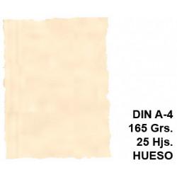 Papel pergamino con bordes troquelados liderpapel en formato din a-4 de 165 grs/m². color hueso, paquete de 25 hojas.