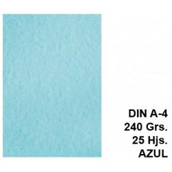 Papel pergamino liderpapel en formato din a-4 de 240 grs/m². color azul, paquete de 25 hojas.