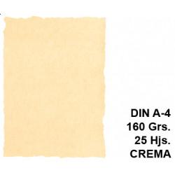 Papel pergamino michel en formato din a-4 de 160 grs/m². color crema, paquete de 25 hojas.