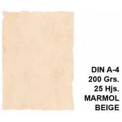 Papel pergamino michel en formato din a-4 de 200 grs/m². color mármol beige, paquete de 25 hojas.