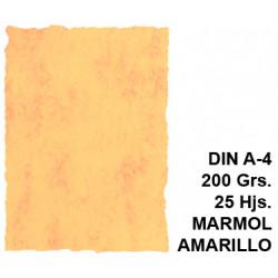 Papel pergamino michel en formato din a-4 de 200 grs/m². color mármol amarillo, paquete de 25 hojas.