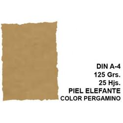 Papel pergamino con bordes troquelados michel en formato din a-4 de 125 grs/m². piel elefante c. pergamino, paquete de 25 hojas.