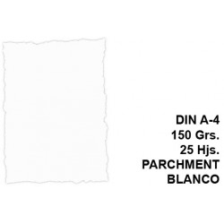 Papel pergamino con bordes troquelados michel en formato din a-4 de 150 grs/m². color parchment blanco, paquete de 25 hojas.