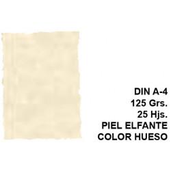 Papel pergamino con bordes troquelados michel en formato din a-4 de 125 grs/m². piel elefante color hueso, paquete de 25 hojas.