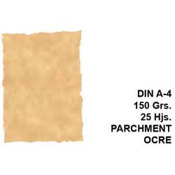 Papel pergamino con bordes troquelados michel en formato din a-4 de 150 grs/m². color parchment ocre, paquete de 25 hojas.