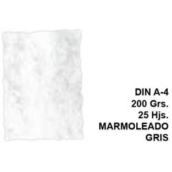 Papel pergamino con bordes troquelados michel en formato din a-4 de 200 grs/m². color marmoleado gris, paquete de 25 hojas.