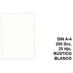 Papel pergamino con bordes troquelados michel en formato din a-4 de 200 grs/m². color rústico blanco, paquete de 25 hojas.