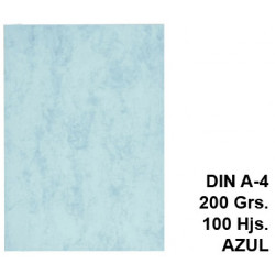 Cartulina marmoleada michel en formato din a-4 de 200 grs/m². color azul, paquete de 100 uds.
