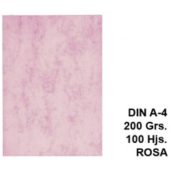 Cartulina marmoleada michel en formato din a-4 de 200 grs/m². color rosa, paquete de 100 uds.