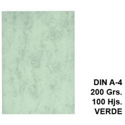 Cartulina marmoleada michel en formato din a-4 de 200 grs/m². color verde, paquete de 100 uds.