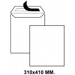 Bolsa con tira de silicona liderpapel en formato 310x410 mm. offset, 100 grs/m². color blanco.