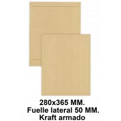 Bolsa fuelle con tira de silicona liderpapel en formato 280x365x50 mm. kraft armado, 155 grs/m². color marrón.