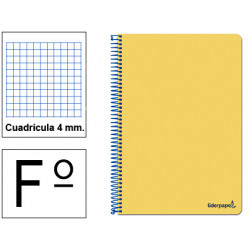 Cuaderno espiral tapa blanda liderpapel serie smart en formato fº, 80 hj. 60 grs/m². 4x4 c/m. color amarillo.