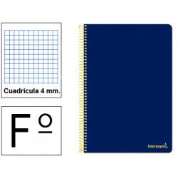 Cuaderno espiral tapa blanda liderpapel serie smart en formato fº, 80 hj. 60 grs/m². 4x4 c/m. color azul marino.