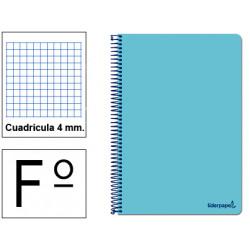 Cuaderno espiral tapa blanda liderpapel serie smart en formato fº, 80 hj. 60 grs/m². 4x4 c/m. color celeste.