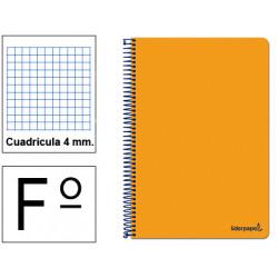 Cuaderno espiral tapa blanda liderpapel serie smart en formato fº, 80 hj. 60 grs/m². 4x4 c/m. color naranja.