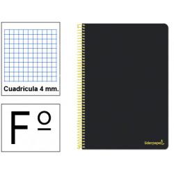 Cuaderno espiral tapa blanda liderpapel serie smart en formato fº, 80 hj. 60 grs/m². 4x4 c/m. color negro.
