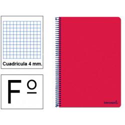 Cuaderno espiral tapa blanda liderpapel serie smart en formato fº, 80 hj. 60 grs/m². 4x4 c/m. color rojo.