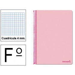 Cuaderno espiral tapa blanda liderpapel serie smart en formato fº, 80 hj. 60 grs/m². 4x4 c/m. color rosa.